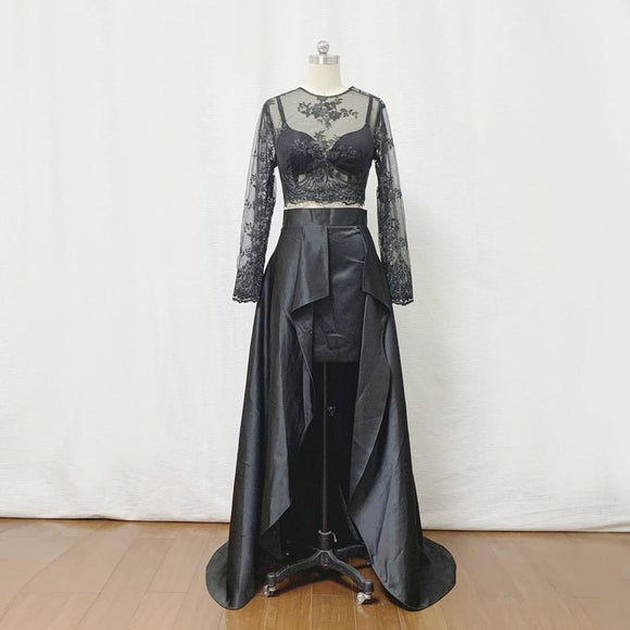 Two Piece Prom Dress 2021 Black Lace Satin with Long Sleeves,DR4001