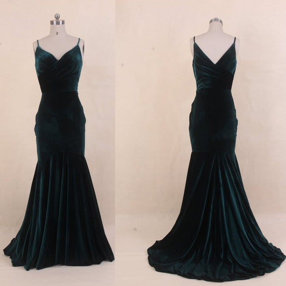 Velvet Bridesmaid Dress Green,2021 Mermaid Prom Dress,Spaghetti Strap Wedding Dress,Long Party Dress,Custom Womens Formal Evening Dresses,DR4009