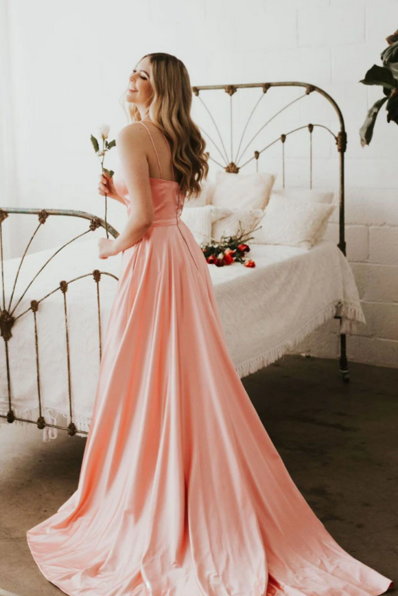 Simple v neck pink satin long prom dress, pink evening dress,DR5407
