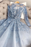Blue lace tulle long prom dress, blue lace evening dress,DR5410