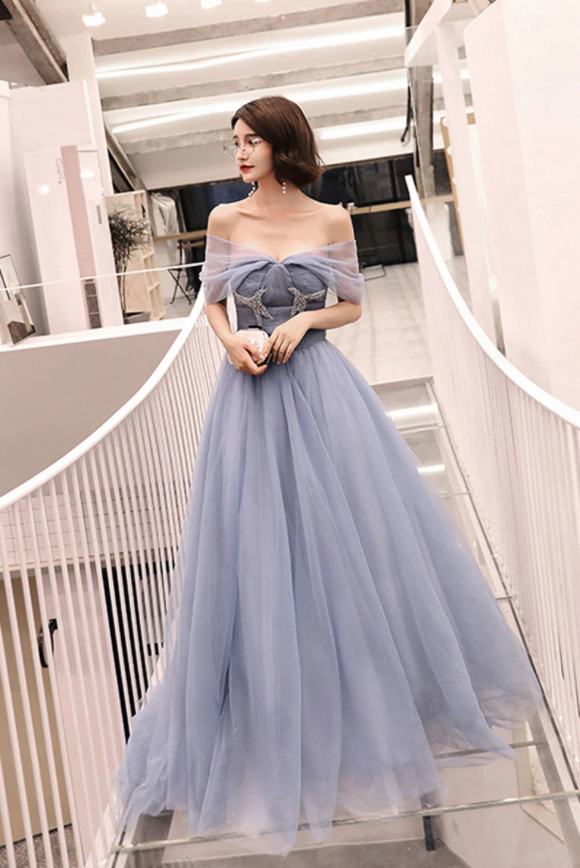 Blue tulle long prom dress, tulle long evening dress,DR5412