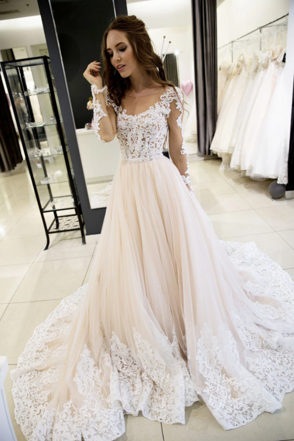 Champagne tulle lace long prom dress, evening dress,DR5414