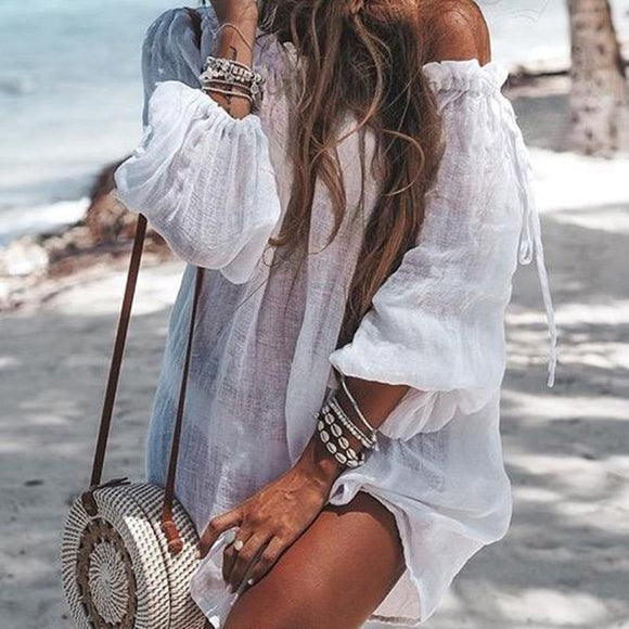 New Off Shoulder Beach Dress Bikini Cover Up Solid Sarong Swim Cover-ups Long Sleeve Beachwear Female Tied Tunic Summer Swimwear