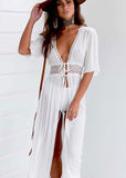 Bikini Cover Up Beach Long Maxi Dress Women Beach Cover Up Tunic Pareo White V Neck Dress Robe Swimwear Bathing Suit Beachwear