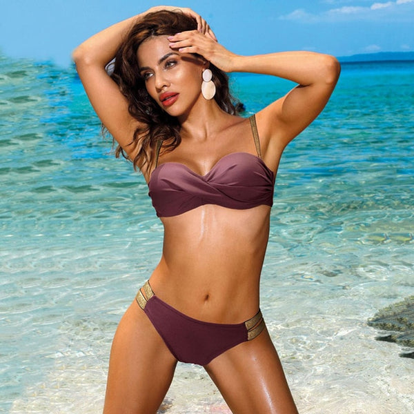 2020 Sexy Solid Color Bikini Women Swimwear Bandeau Biquini Swimsuit Female Bathing Suit Push Up Bikini Set Beachwear