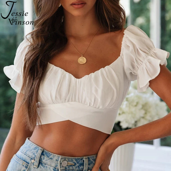 Jessie Vinson Short Sleeve Off Shoulder Crop Top Blouse Women Summer Short Sleeve Short Sexy Blouses Women Tops and Blouses 2020