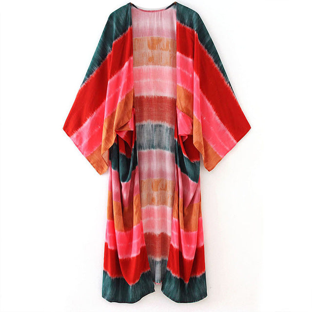 Spring Breeze wide,long,open Kimono casual Cotton light coat beach wear Thailand travel dress colorful  comfort cover up Bandhnu