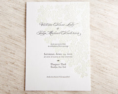 Leaves Letterpress Wedding Invitation Samples