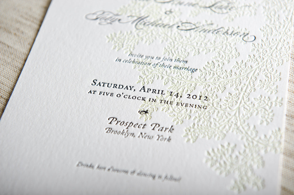 leaves letterpress wedding invitation samples - Letterpress Wedding Invitations