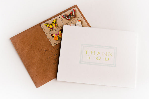 Hand Lettered Letterpress Thank You Cards