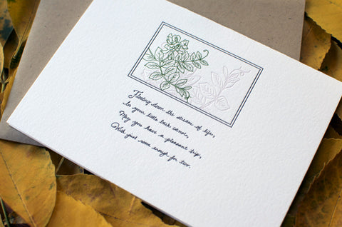 Floating Down the Stream of Life Letterpress Autograph Card