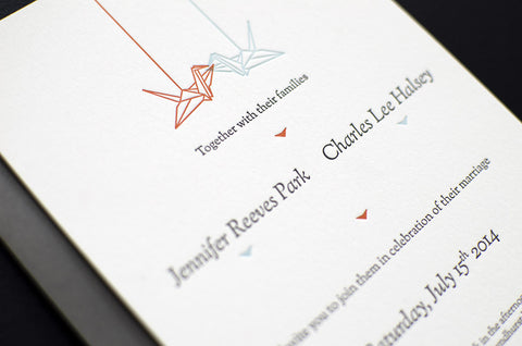Cranes Letterpress Wedding Invitation Samples