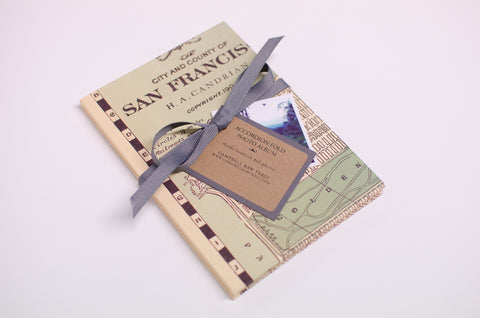 San Francisco Vintage Map Accordion Fold Photo Album