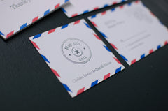 Air Mail Letterpress Wedding Invitation Samples