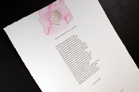 What I Learned From My Mother Letterpress Broadside