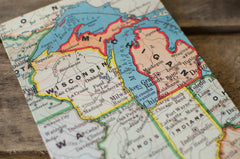 Midwest Vintage Map Accordion Fold Photo Album