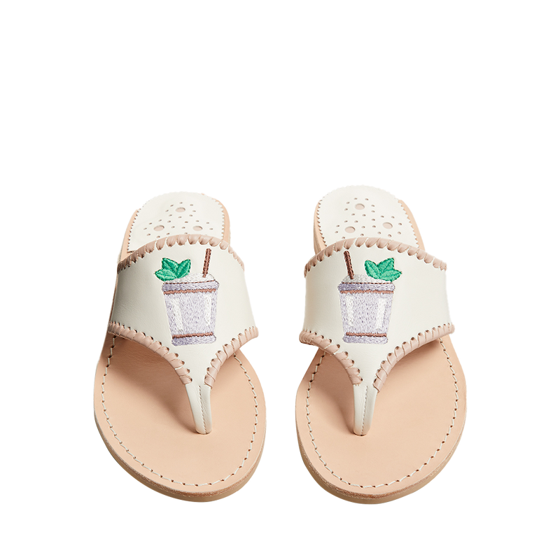Embroidered Mint Julep Sandal
