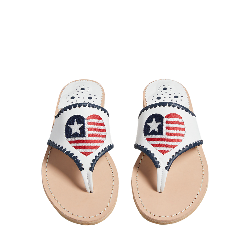 Embroidered Heart Flag Sandal