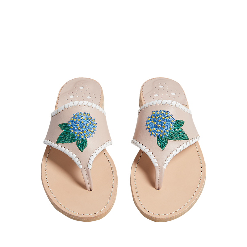 Embroidered Hydrangea Sandal