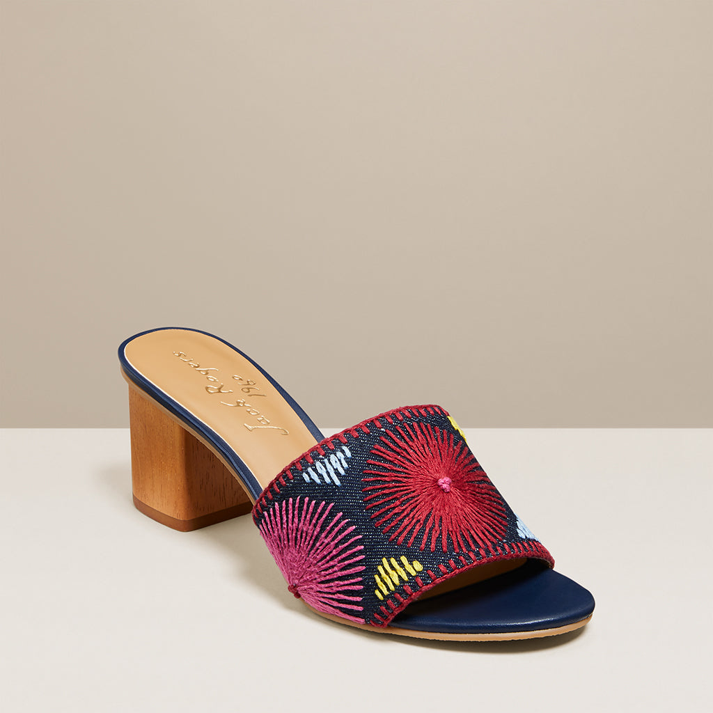 Bettina Mid Heel Embroidered-SANDALS (NON NAVAJO)-Jack Rogers USA