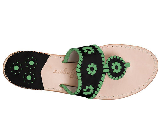 Custom Jacks Sandal Wide - Black / Green-Jack Rogers USA