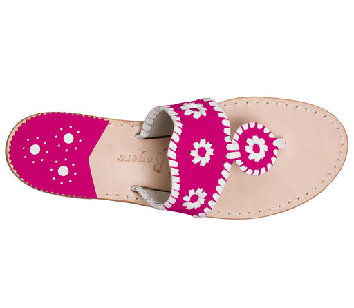 Custom Jacks Sandal Medium - Bright Pink / White-Jack Rogers USA