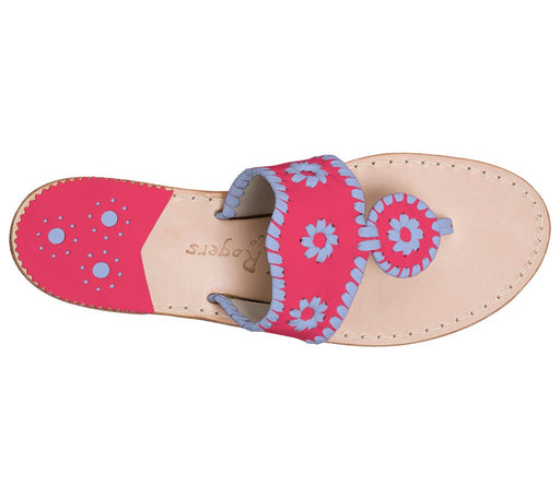Custom Jacks Sandal Wide - Bright Pink / Light Blue-Jack Rogers USA