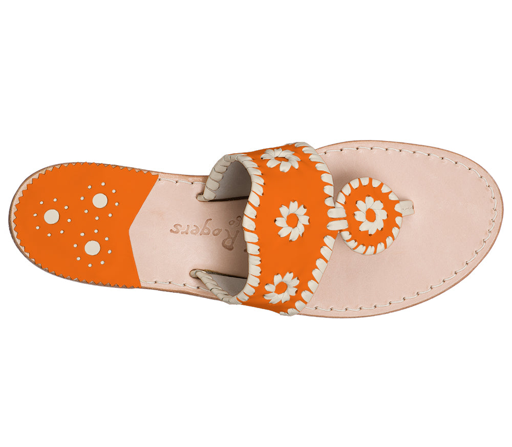 Custom Jacks Sandal Medium - Dark Orange / Bone