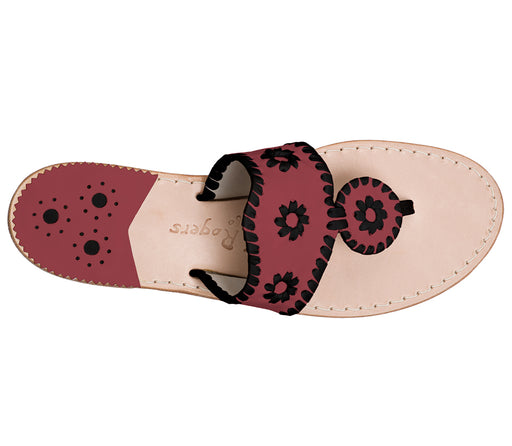 Custom Jacks Sandal Medium - Garnet / Black-Jack Rogers USA