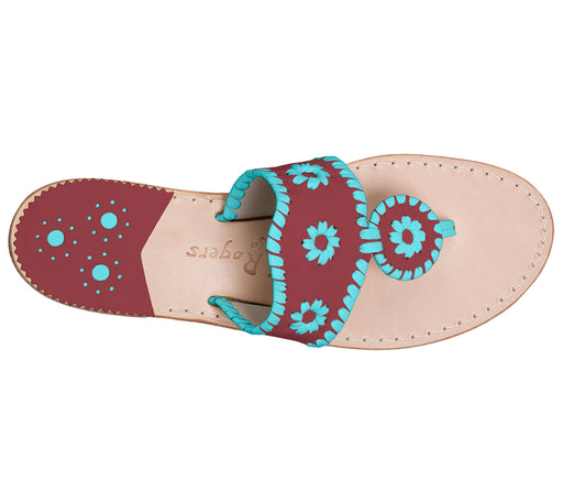 Custom Jacks Sandal Medium - Garnet / Caribbean Blue-Jack Rogers USA