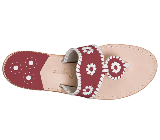Custom Jacks Sandal Medium - Garnet / White-Jack Rogers USA