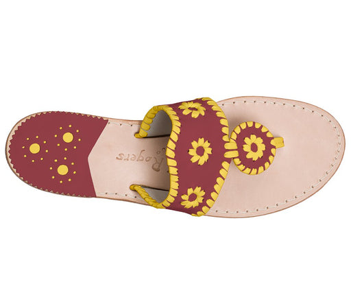 Custom Jacks Sandal Wide - Garnet / Yellow-Jack Rogers USA