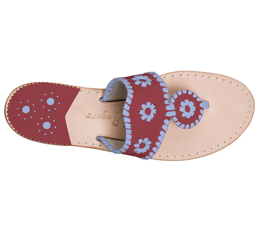 Custom Jacks Sandal Medium - Garnet / Light Blue-Jack Rogers USA