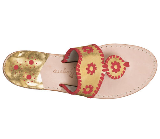 Custom Jacks Sandal Wide - Gold / Red-Jack Rogers USA