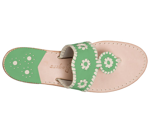 Custom Jacks Sandal Medium - Green / Bone-Jack Rogers USA