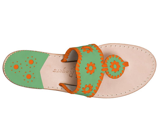Custom Jacks Sandal Wide - Green / Dark Orange-Jack Rogers USA
