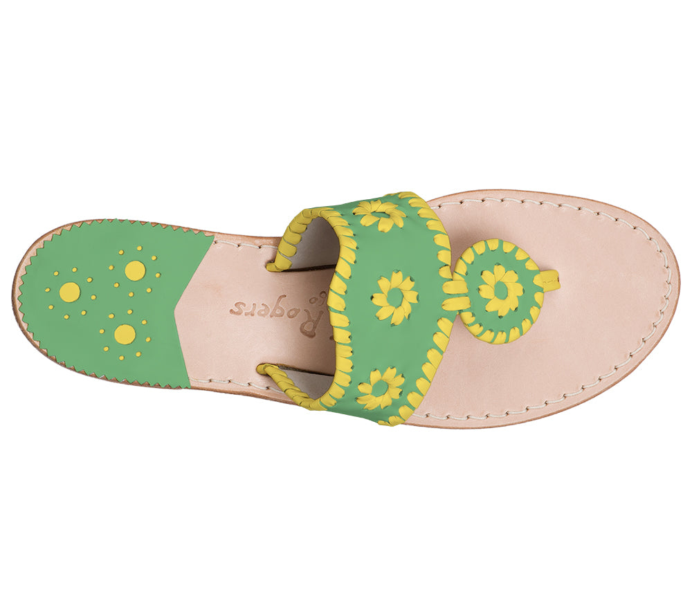 Custom Jacks Sandal Medium - Green / Yellow-Jack Rogers USA