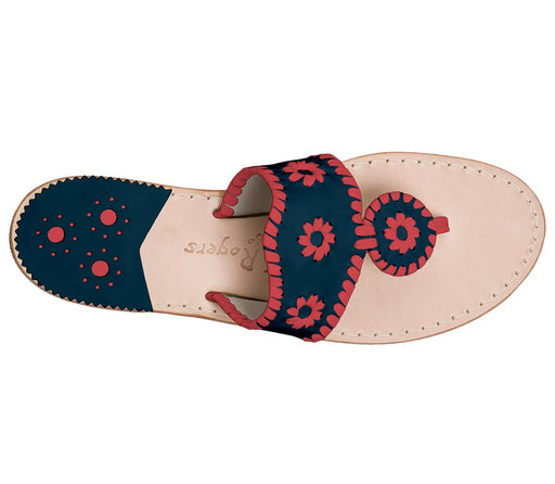 Custom Jacks Sandal Wide - Midnight / Red-Jack Rogers USA