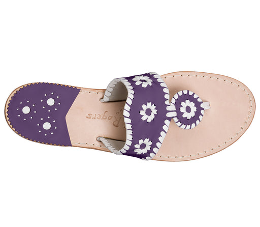 Custom Jacks Sandal Medium - Purple / White-Jack Rogers USA