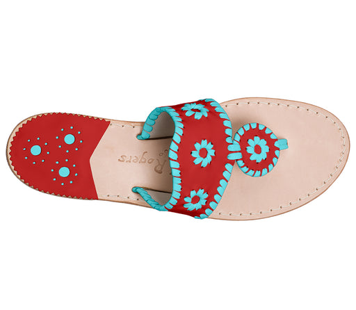 Custom Jacks Sandal Medium - Red / Caribbean Blue