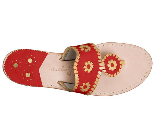 Custom Jacks Sandal Wide - Red / Gold-Jack Rogers USA