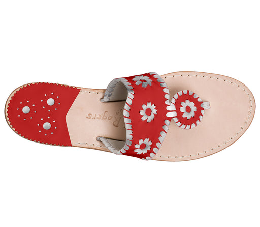 Custom Jacks Sandal Medium - Red / Silver-Jack Rogers USA