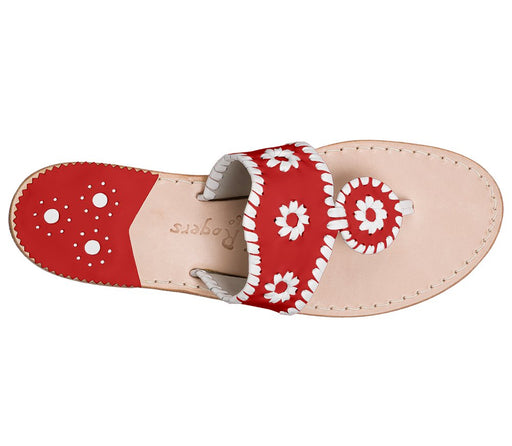 Custom Jacks Sandal Wide - Red / White-Jack Rogers USA