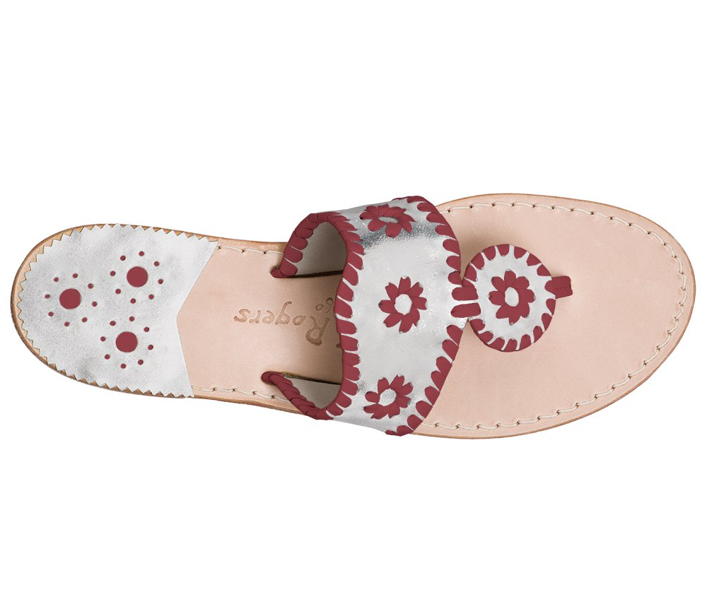 Custom Jacks Sandal Wide - Silver / Garnet
