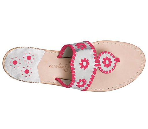 Custom Jacks Sandal Medium - Silver / Bright Pink-Jack Rogers USA