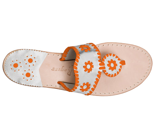 Custom Jacks Sandal Medium - Silver / Dark Orange-Jack Rogers USA