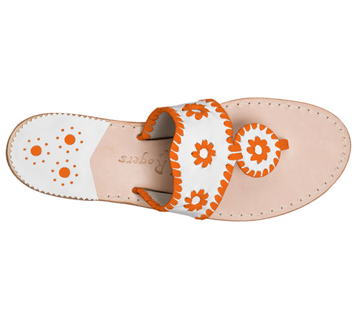 Custom Jacks Sandal Medium - White / Dark Orange-Jack Rogers USA