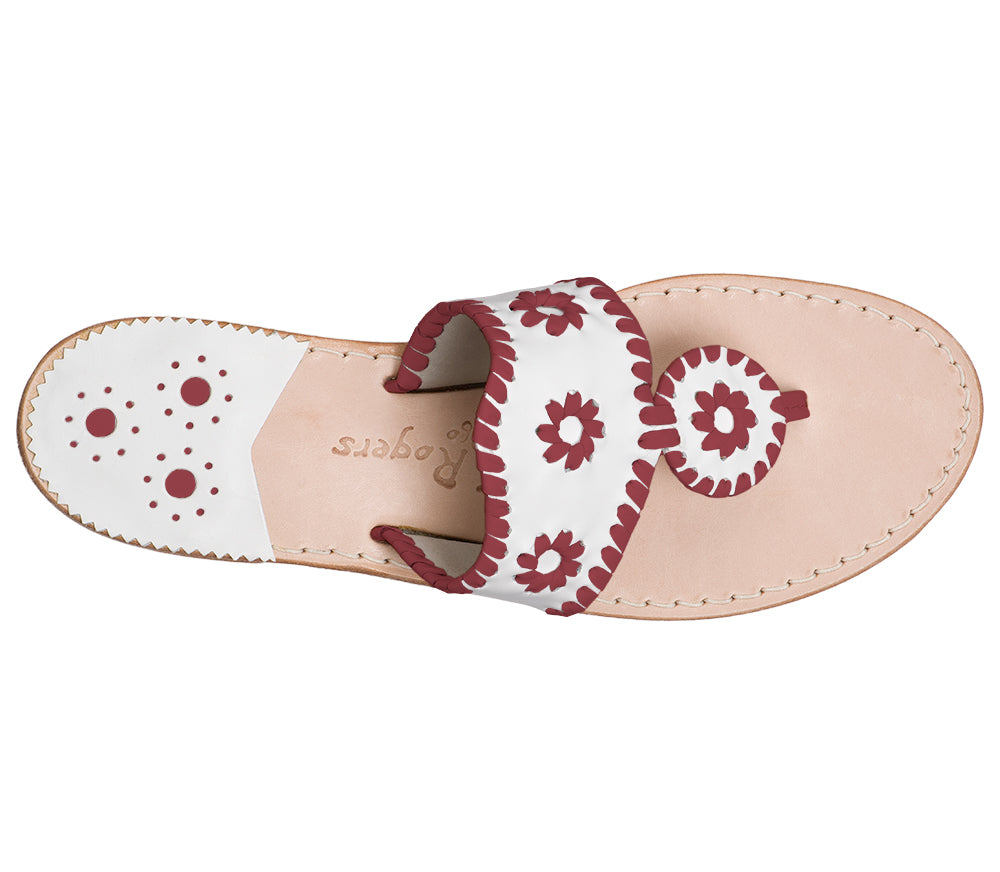 Custom Jacks Sandal Medium - White / Garnet