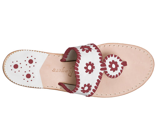 Custom Jacks Sandal Medium - White / Garnet-Jack Rogers USA