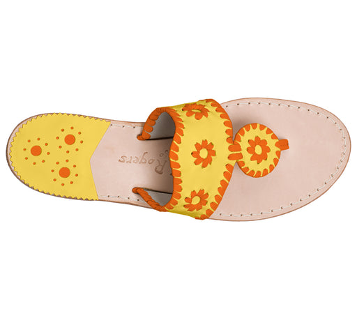 Custom Jacks Sandal Medium - Yellow / Dark Orange-Jack Rogers USA